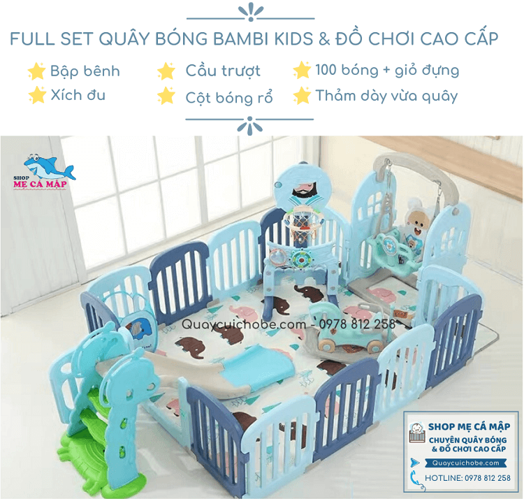 Quây cũi nhựa Bambi Kids full set